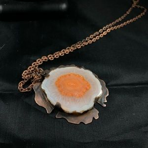 Perfect Druzy Agate Slice Copper Necklace B-12-5